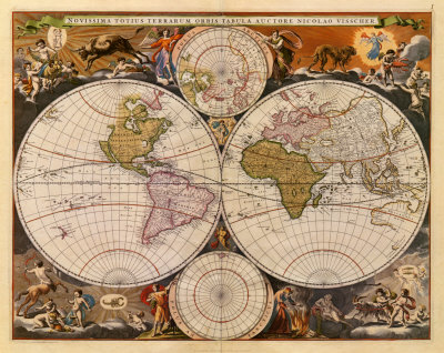 New World Map, 17th Century Print. zoom. view in room