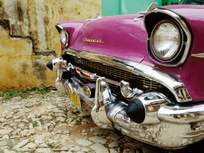1957 Chevy Bel-Air Car Front Grill and Bumper in Cobbled Street, Trinidad, Cuba Stretched Canvas Print