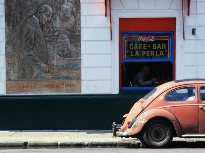 Old Car in Front of Bar in La Boca Harbour Area, Buenos Aires, Buenos Aires, Argentina Stretched Canvas Print