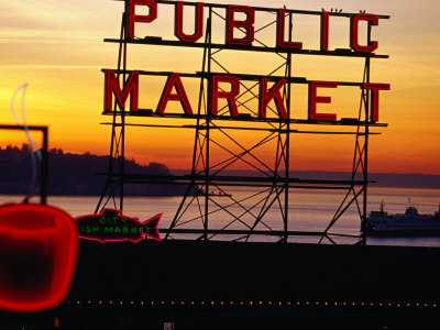 Pike Place Market Sign, Seattle, Washington, USA Stretched Canvas Print