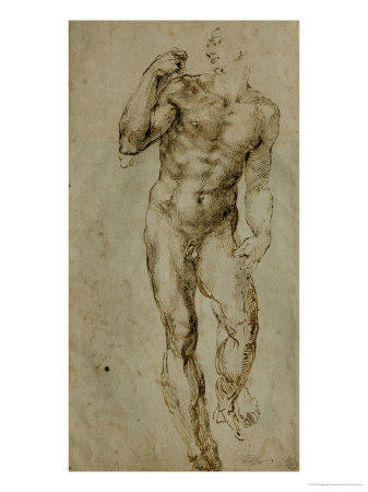 Nude Male Figure Seen Frontally, circa 1502-1506 Stretched Canvas Print