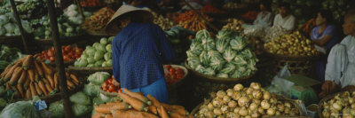 Customer Buying Vegetables in a Vegetable Market, Hue, Vietnam Stretched Canvas Print