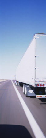 Semi-Truck on a Highway Stretched Canvas Print