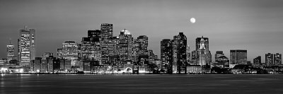 Black and White Skyline at Night, Boston, Massachusetts, USA Stretched Canvas Print
