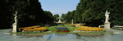 Fountain in a Garden, Saxon Garden, Warsaw, Poland Stretched Canvas Print