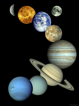 Solar System Montage Stretched Canvas Print