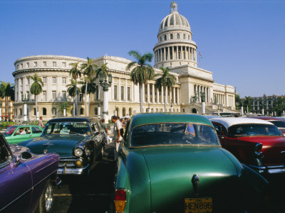 Old 1950s American Cars Outside El Capitolio Building, Havana, Cuba Stretched Canvas Print
