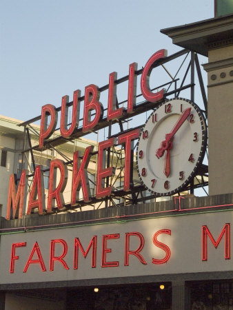 Pikes Market, Seattle, Washington State, USA Stretched Canvas Print