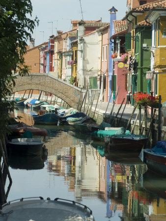 Burano, Island Near Venice, Veneto, Italy Stretched Canvas Print