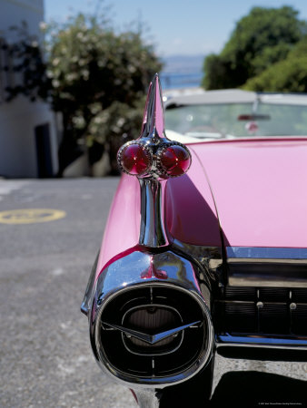 Close-Up of Fin and Lights on a Pink Cadillac Car Stretched Canvas Print