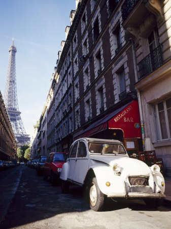 Parked Citroen on Rue De Monttessuy, with the Eiffel Tower Behind, Paris, France Stretched Canvas Print