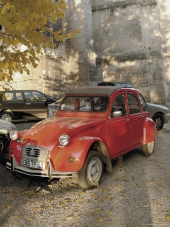 Citroen Diane Parked Outside Church, St. Omer, Pas De Calais, France Stretched Canvas Print