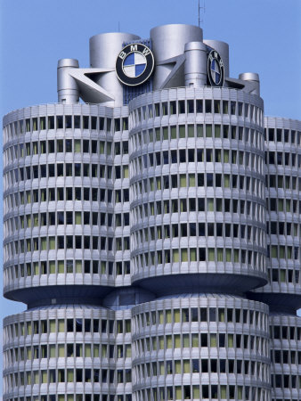 Headquarters of Bmw, Munich, Bavaria, Germany Stretched Canvas Print