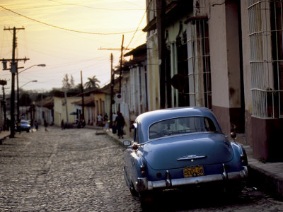 Cobbled Street at Sunset with Old American Car, Trinidad, Sancti Spiritus Province, Cuba Stretched Canvas Print