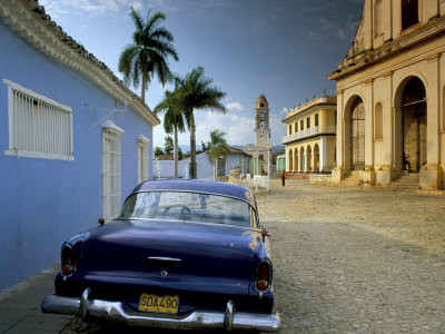 View Across Plaza Mayor with Old American Car Parked on Cobbles, Trinidad, Cuba, West Indies Stretched Canvas Print