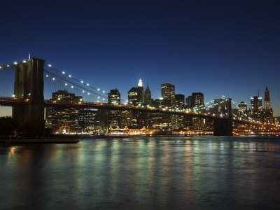 Manhattan Skyline and Brooklyn Bridge at Dusk, New York City, New York, USA Stretched Canvas Print