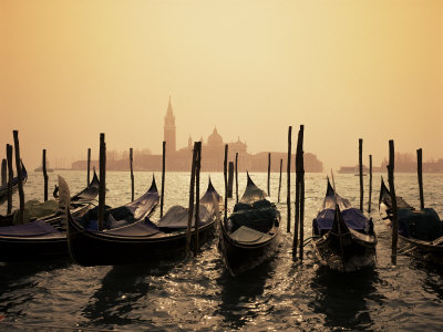 Gondolas and the Church of San Giorgio Maggiore, Venice, Veneto, Italy Stretched Canvas Print