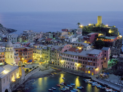 Village of Vernazza in the Evening, Cinque Terre, Unesco World Heritage Site, Liguria, Italy Stretched Canvas Print