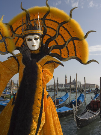 Masked Face and Costume at the Venice Carnival, Venice, Italy Stretched Canvas Print