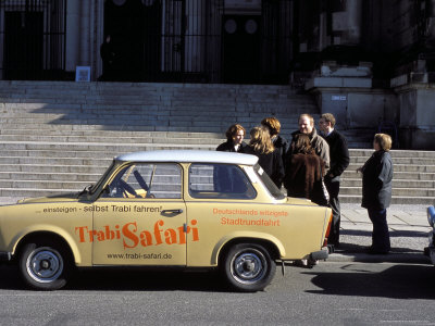 Group of People Talking Beside a Trabant Tour Car, Mitte, Berlin, Germany Stretched Canvas Print