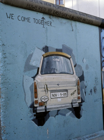 A Trabant Car Painted on a Section of the Berlin Wall Near Potsdamer Platz, Mitte, Berlin, Germany Stretched Canvas Print