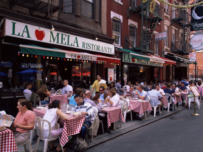 People Sitting at an Outdoor Restaurant, Little Italy, Manhattan, New York State Stretched Canvas Print