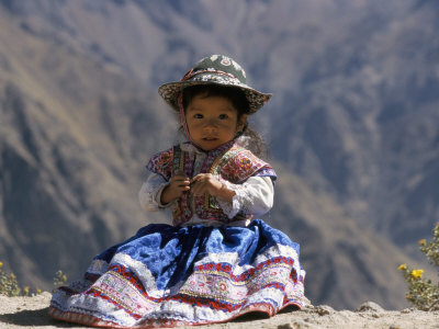 Little Girl in Traditional Dress, Colca Canyon, Peru, South America Stretched Canvas Print