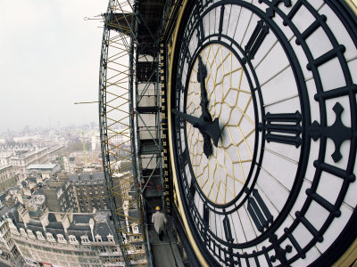 Close-Up of the Clock Face of Big Ben, Houses of Parliament, Westminster, London, England Stretched Canvas Print