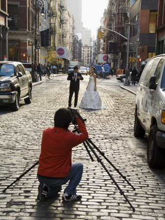 Wedding Photo Shoot in Soho, Manhattan, New York City, New York, USA Stretched Canvas Print