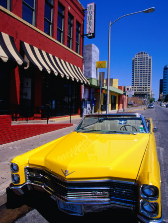 Classic Open-Topped Car Parked on West 6Th Street, Austin, Texas Stretched Canvas Print