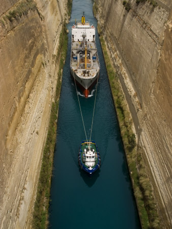 Ships in Narrow Corinth Canal, Corinth, Peloponnese, Greece Stretched Canvas Print