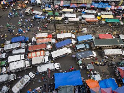 Jeepneys Clogging Main Road of Divisoria Market, Manila, Philippines Stretched Canvas Print