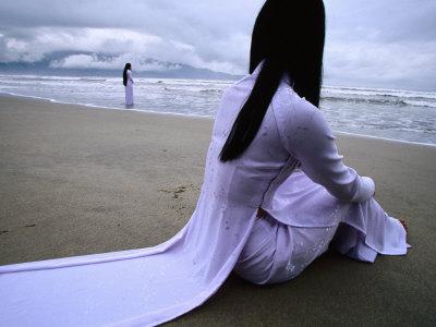 School Girls Watch Tropical Storm Approach Vietnam's Central Coast, Da Nang, Vietnam Stretched Canvas Print