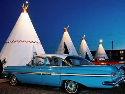 Wigwams and Old Car, Wigwam Motel, Route 66, Holbrook, Arizona Stretched Canvas Print