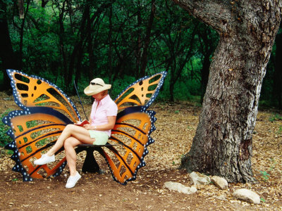 Woman Sitting in Butterfly Chair at Botanical Gardens, Zilker Park, Austin, Texas Stretched Canvas Print