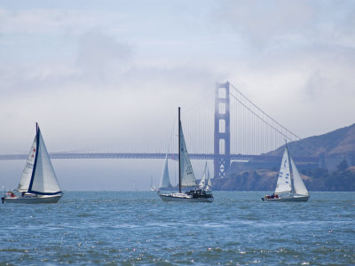 Sailing Boats with the Golden Gate Bridge and Summer Fog in Background, San Francisco, California Stretched Canvas Print