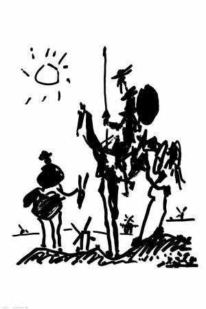 Don Quixote c. 1955 drawing artwork by Pablo Picasso