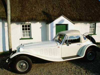 Mg Sports Car Outside Thatched Cottage, Tipperary, Munster, Ireland Stretched Canvas Print