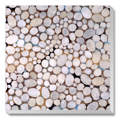 river pebbles stretched canvas