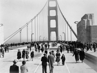 Golden Gate Opening, San Francisco, California, c.1937 Stretched Canvas Print