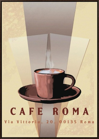 Cafe Roma Framed Canvas Print by Kelvie Fincham