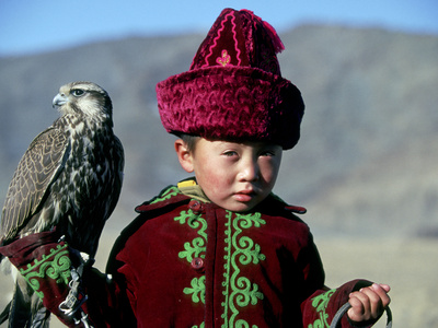 Young Boy Holding a Falcon, Golden Eagle Festival, Mongolia Stretched Canvas Print