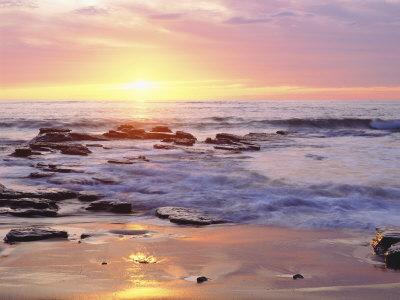 sunset on beach. Sunset Cliffs Beach on the
