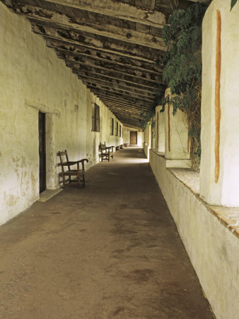 Outside Covered Passageway at the Mission Carmel Near Monterey, Carmel-By-The-Sea, California, USA Stretched Canvas Print