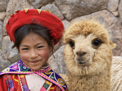Girl in Native Dress with Baby Alpaca, Sacsayhuaman Inca Ruins, Cusco, Peru Stretched Canvas Print