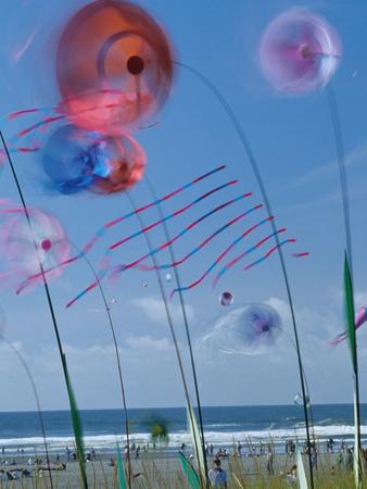 Kites Spinning, Washington State Kite Festival, Long Beach, Washington, USA Stretched Canvas Print