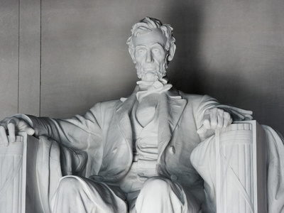 The Lincoln Memorial Statue. Colossal seated statue on