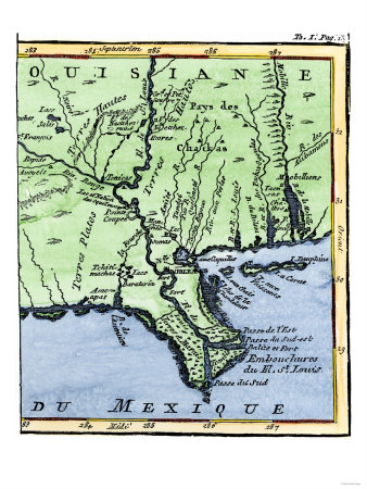 map of louisiana. Map of Louisiana, 1744,