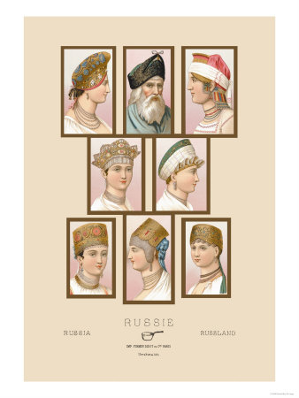 Russian Hats and Hairstyles Giclee Print. zoom. view in room