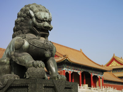 An Imperial Guardian Lion Statue Sits Outside the Forbidden City ...